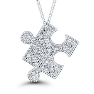Sterling Silver 1/10CT. T.W. Diamond Puzzle Pendant (I-J, I2-I3)