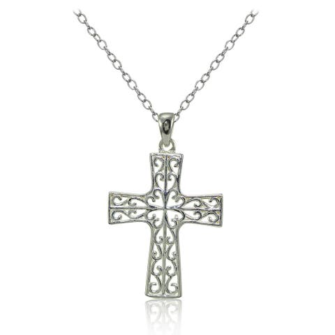 Mondevio Sterling Silver High Polished Filigree Cross Necklace