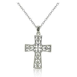 Mondevio Sterling Silver High Polished Filigree Cross Necklace (Option: Gold Plate - Pink)