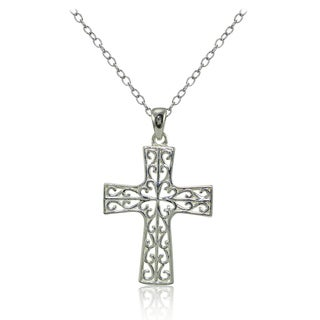 Mondevio Sterling Silver High Polished Filigree Cross Necklace (Option: Pink)