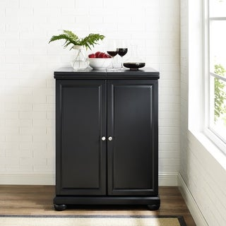 Crosley Furniture Alexandria Black Finish Expandable Bar Cabinet