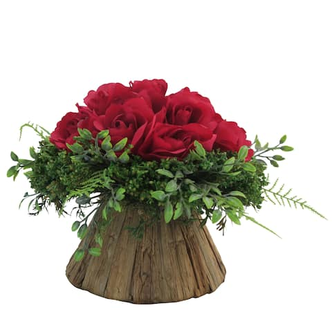 French Red Rose on Round Centerpiece
