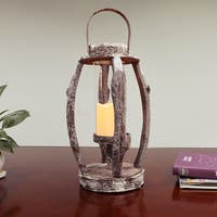 Puleo International Wood 22-inch High Round Rustic Lantern With LED Candle