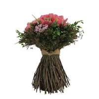 French Pink Roses with Twig Bouquet -