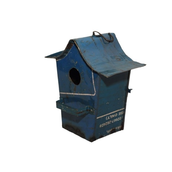 Recycled Oil Drum Sculpture BIRDIE in shape of stylized bird house.