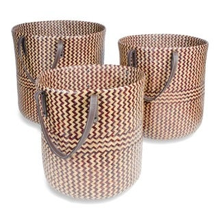 Multicolor Rattan Round Baskets (Pack of 3)