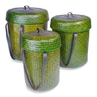 Forest Green Rattan Baskets (Set of 3)