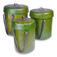 Forest Green Rattan Baskets (Set of 3)