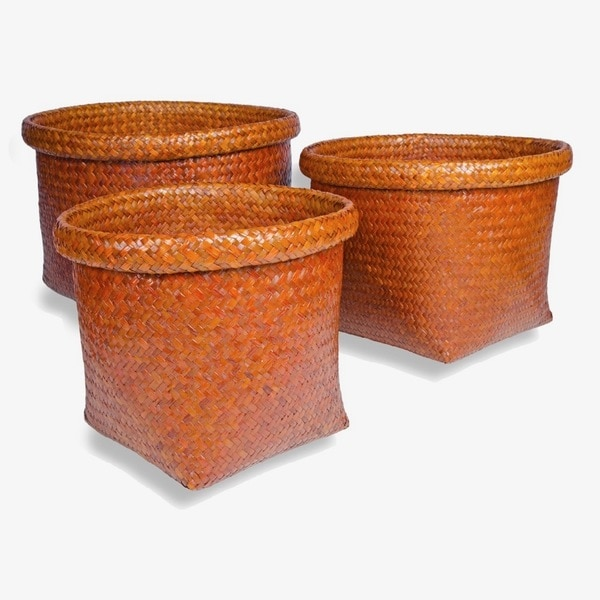 Rattan Baskets TEMBAGA in Glossy Orange. Set of 3.