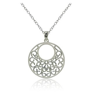Mondevio Sterling Silver High Polished Medallion Filigree Necklace