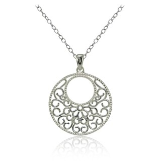 Mondevio Sterling Silver High Polished Medallion Filigree Necklace