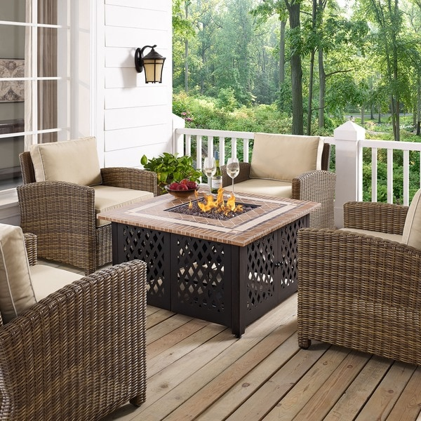 crosley furniture tucson outdoor stone top propane fire table free shipping today overstock. Black Bedroom Furniture Sets. Home Design Ideas