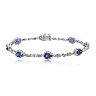 Pear Shape Sapphire and Diamond Bracelet in 14k White Gold
