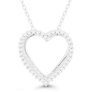 Sterling Silver 1/10CT. T.W. Diamond Open Heart Pendant (I-J, I2-I3)