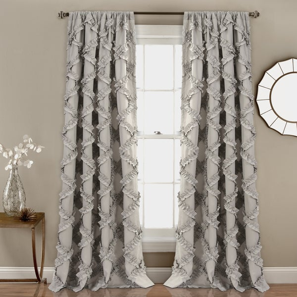 "Lush Decor Ruffle Diamond Curtain Panel Pair - 52"" W X 84"" L"