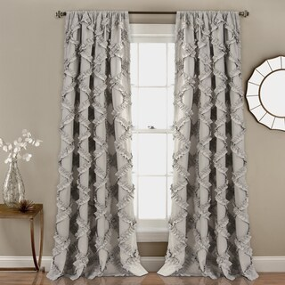"Lush Decor Ruffle Diamond Curtain Panel Pair - 52"" W X 84"" L"