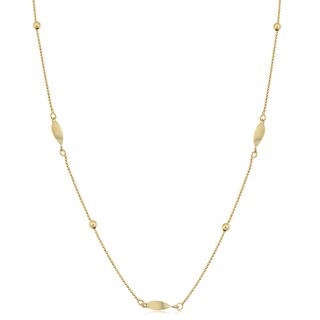 Fremada 10k Yellow Gold Bead and Twisted Marquise Station Necklace (18 inches)