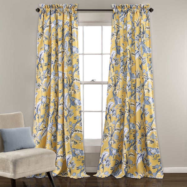 Blue And Yellow Kitchen Curtains: Lush Decor Dolores Blue And Yellow Room-darkening Floral