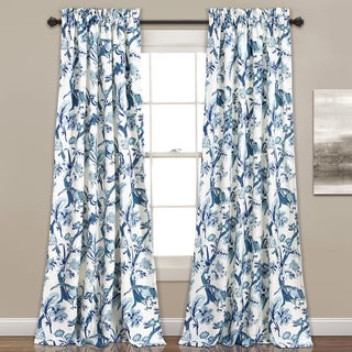 Lush Decor Dolores Blue and Yellow Room-darkening Floral Window Curtain Panel Pair