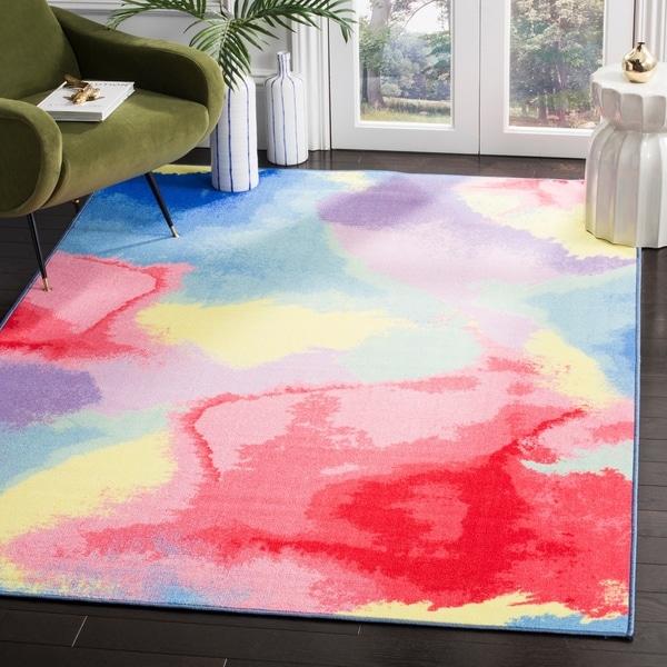 """Safavieh Paint Brush Pink/ Yellow Area Rug - 5'-1"""" X 7'-6"""""""