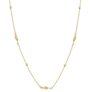 Fremada 10k Yellow Gold Bead and Twisted Marquise Station Necklace (20 inches)