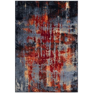 Safavieh Porcello Modern Abstract Blue/ Orange Area Rug (5'1 x 7'6)