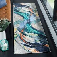 Safavieh Porcello Modern Abstract Grey/ Blue Area Rug - 5'1 x 7'6