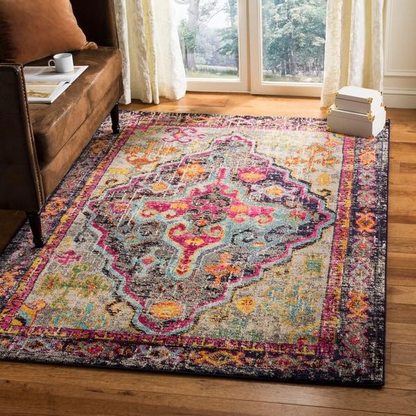 shop safavieh monaco vintage bohemian grey pink distressed area rug 6 39 7 x 9 39 2 on sale. Black Bedroom Furniture Sets. Home Design Ideas