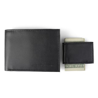 Geoffrey Beene Men's Faux Leather Money Clip Bifold Wallet