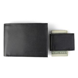 Geoffrey Beene Men's Faux Leather Money Clip Bifold Wallet