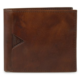 Guess Men's Zippered Genuine Leather Bifold Wallet