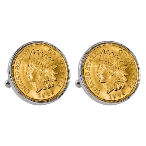 Smithsonian Institution Gold-Layered Indian Penny Silvertone Bezel Cuff Links