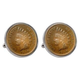 Smithsonian Institution 1800's Indian Penny Silvertone Bezel Cuff Links