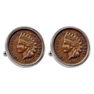 Smithsonian Institution Indian Penny Silvertone Bezel Cuff Links