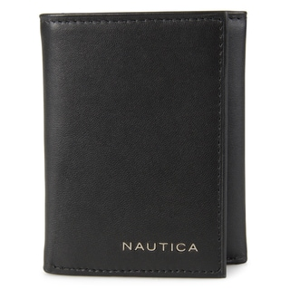 Nautica Men's Genuine Leather Trifold Credit Card Wallet