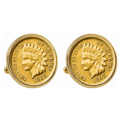 Smithsonian Institution Gold-Layered 1800's Indian Penny Goldtone Bezel Cuff Links