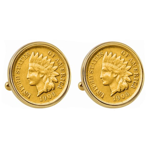 Smithsonian Institution Gold-Layered Indian Penny Goldtone Bezel Cuff Links