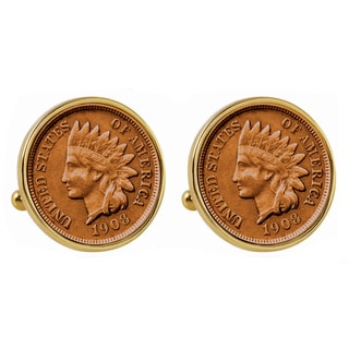 Smithsonian Institution Indian Penny Goldtone Bezel Cuff Links