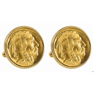 Smithsonian Institution Gold-Layered 1913 First-Year-of-Issue Buffalo Nickel Goldtone Bezel Cuff Lin