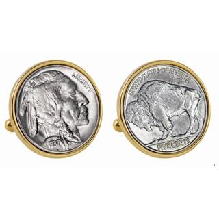 Smithsonian Institution Buffalo Nickel Goldtone Bezel Cuff Links