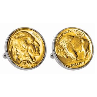 Smithsonian Institution Gold-Layered Buffalo Nickel Silvertone Bezel Cuff Links
