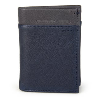Geoffrey Beene Men's Genuine Leather Two Tone Trifold Wallet (Option: Blue)