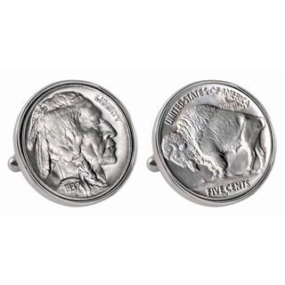 Smithsonian Institution Buffalo Nickel Silvertone Bezel Cuff Links