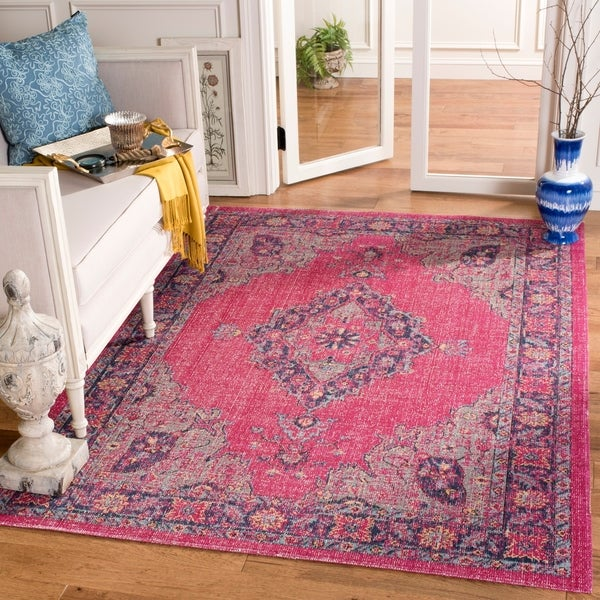 Shop Safavieh Artisan Bohemian Pink/ Navy Distressed Area