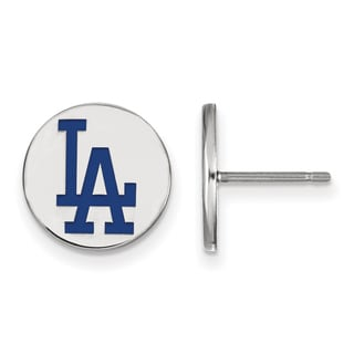 Versil Sterling Silver Los Angeles Dodgers Small Enamel Disc Earring