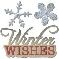 Sizzix Thinlits Dies 2/Pkg-Winter Wishes Phrase & Snowflakes