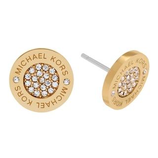 Michael Kors Goldtone Stainless Steel Crystal Pave Circle Logo Stud Earrings