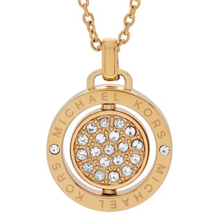 Michael Kors Goldtone Stainless Steel Crystal Pave Spinning Logo Disk Pendant