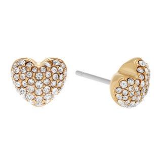 Michael Kors Goldtone Stainless Steel Crystal Pave Heart Stud Earrings