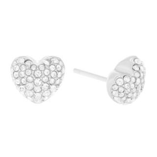 Michael Kors Stainless Steel Crystal Pave Heart Stud Earrings